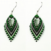 Russian Leaf Earring Beadwork Kit with MIYUKI Delicas - Green/Black/Silver